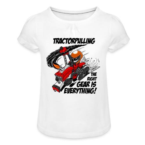 0966 tractorpulling - Meisjes-T-shirt met plooien