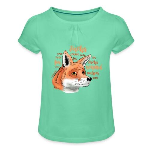Fuchsportrait mit Lettering - Mädchen-T-Shirt mit Raffungen