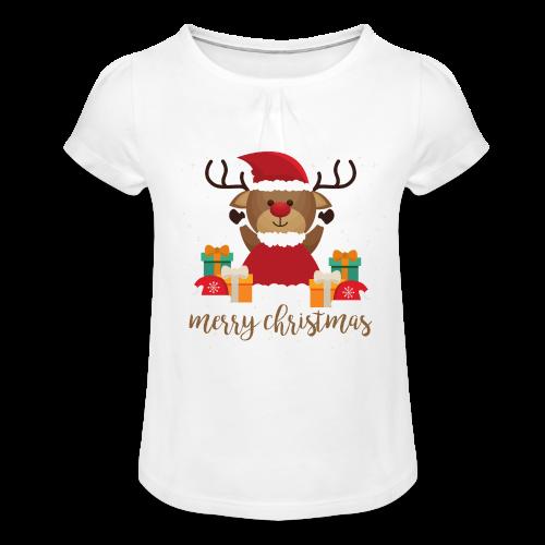 Merry Christmas - Mädchen-T-Shirt mit Raffungen