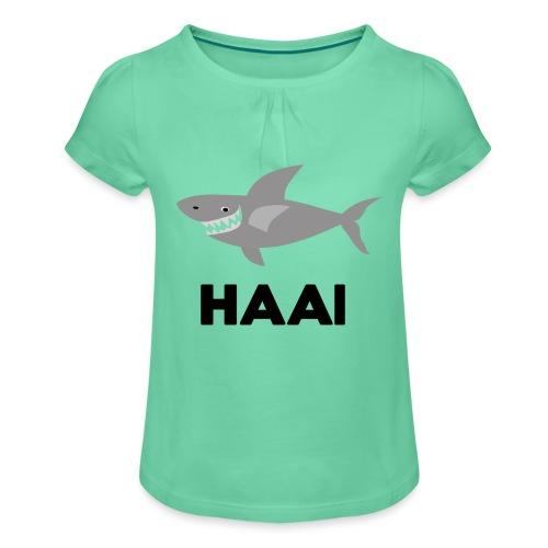 haai hallo hoi - Meisjes-T-shirt met plooien