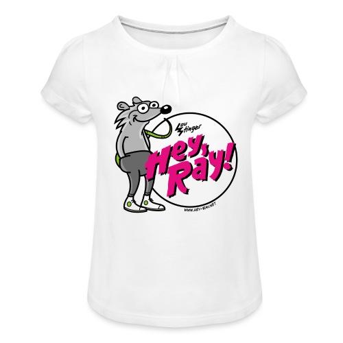 Hey Ray! Logo magenta - Mädchen-T-Shirt mit Raffungen