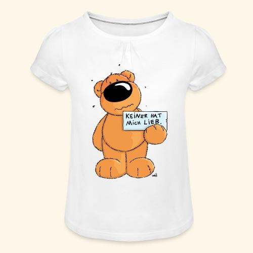 chris bears Keiner hat mich lieb - Mädchen-T-Shirt mit Raffungen
