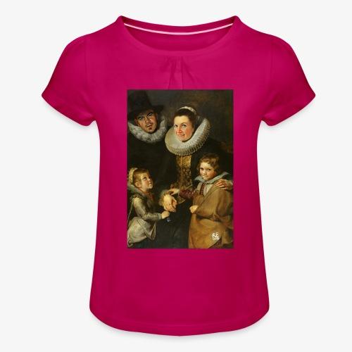 familie-engels2-canvas - Meisjes-T-shirt met plooien