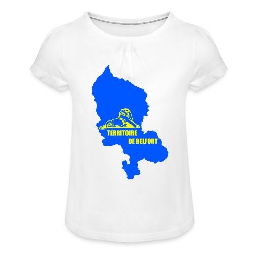 Territoire de Belfort + Lion PNG - T-shirt à fronces au col Fille
