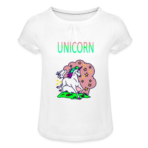 Einhorn unicorn - Mädchen-T-Shirt mit Raffungen