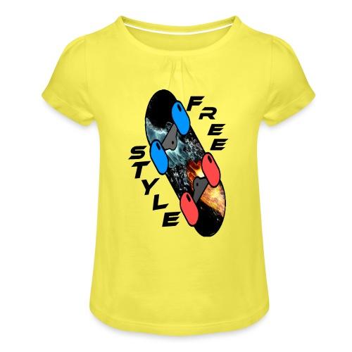 Skateboard Freestyle - Mädchen-T-Shirt mit Raffungen