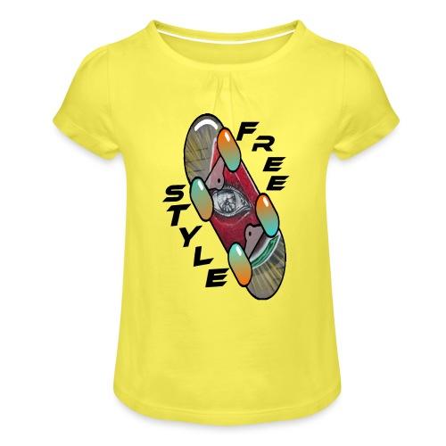 Skateboard Freestyle 2 - Mädchen-T-Shirt mit Raffungen