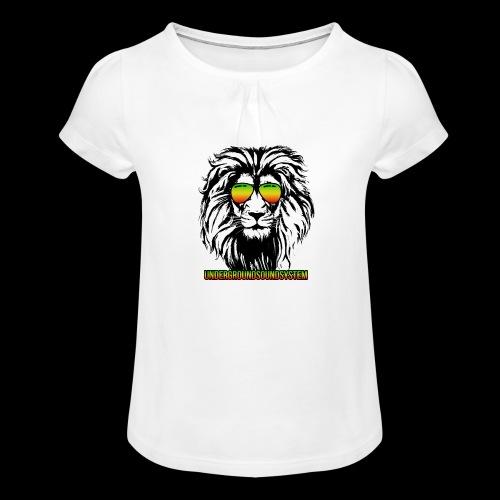 RASTA REGGAE LION - Mädchen-T-Shirt mit Raffungen