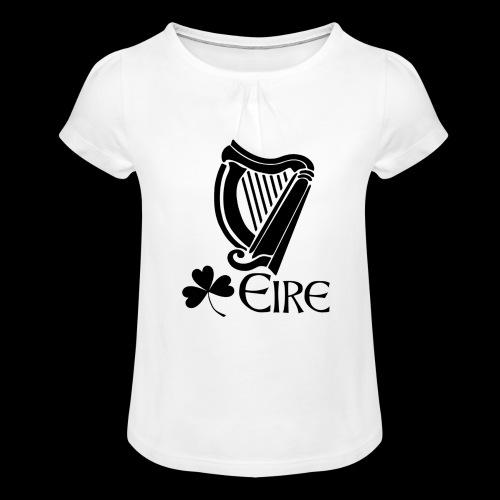 Irish Harp and Shamrock - Girl's T-Shirt with Ruffles