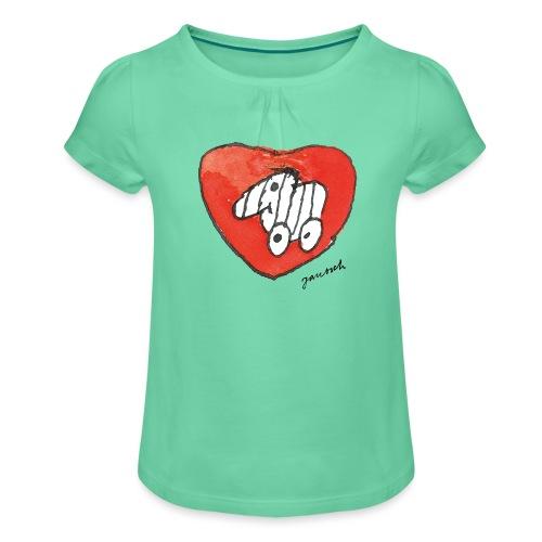 Janosch Tigerente Großes Rotes Herz - Mädchen-T-Shirt mit Raffungen