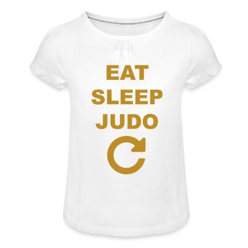 Eat sleep Judo repeat - Koszulka dziewczęca z marszczeniami