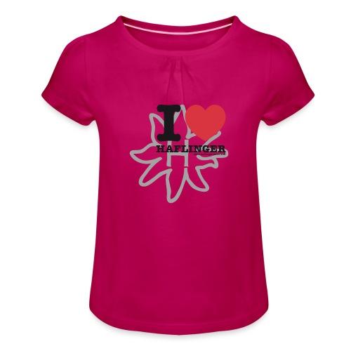 I love Haflinger - Mädchen-T-Shirt mit Raffungen