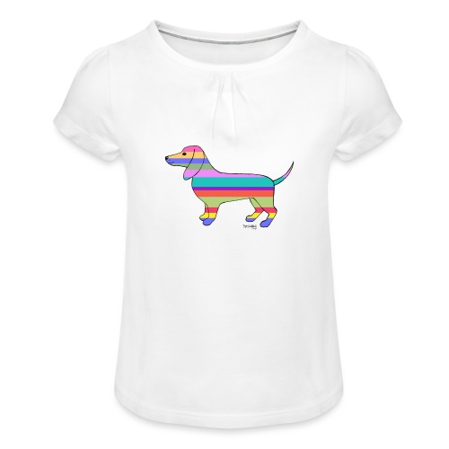 Happy - Tyttöjen t-paita, jossa rypytyksiä