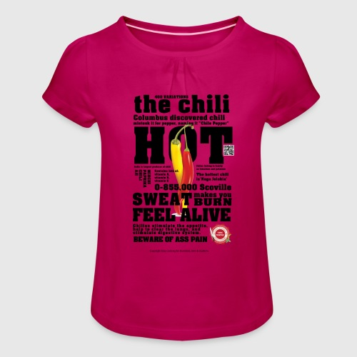 chili - Pige T-shirt med flæser