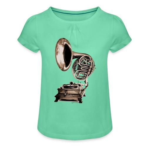 Grammo-Horn - Mädchen-T-Shirt mit Raffungen