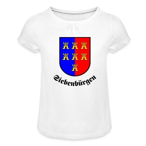 Wappen der Siebenbürger Sachsen Siebenbürgen - Mädchen-T-Shirt mit Raffungen