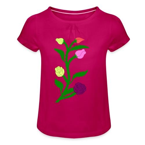 fleurs - T-shirt à fronces au col Fille