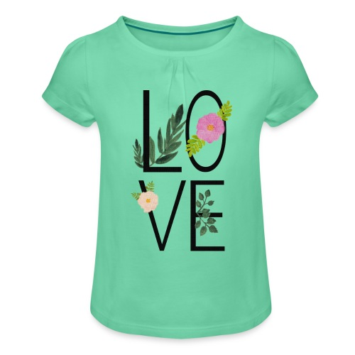 Love Sign with flowers - Girl's T-Shirt with Ruffles