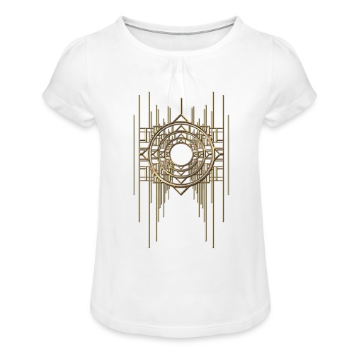 Abstract Geometry Gold Metal Art Deco Vintage - Girl's T-Shirt with Ruffles