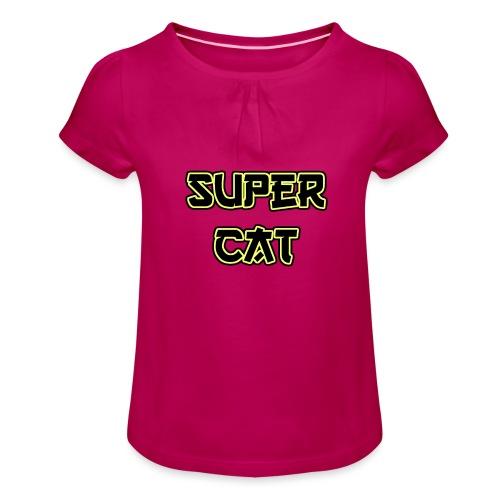 Super Cat - Mädchen-T-Shirt mit Raffungen
