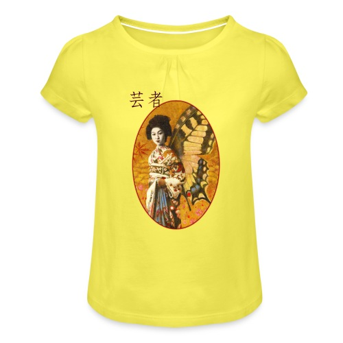 Vintage Japanese Geisha Oriental Design - Girl's T-Shirt with Ruffles