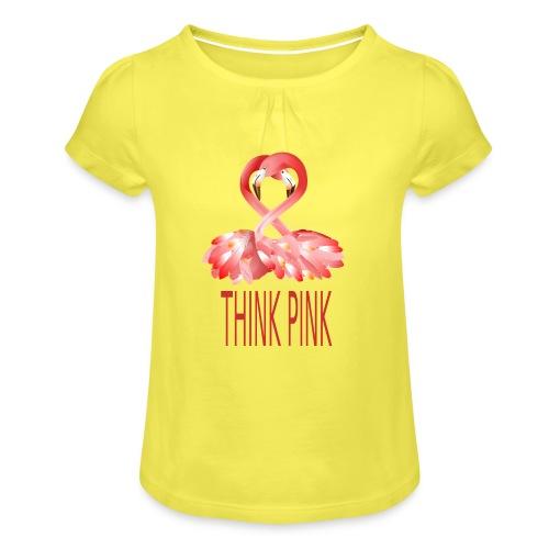 Flamingo - Mädchen-T-Shirt mit Raffungen