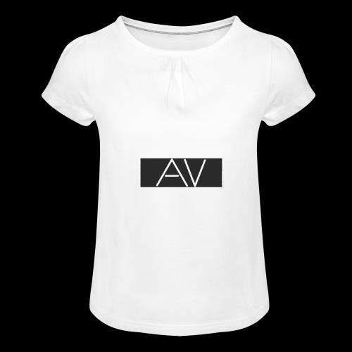AV White - Girl's T-Shirt with Ruffles