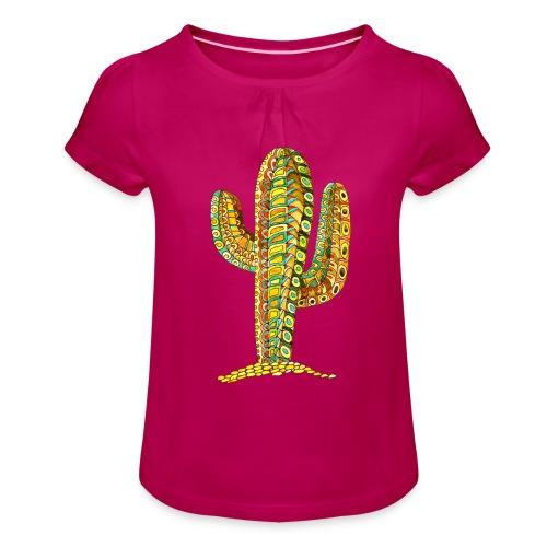 Le cactus - T-shirt à fronces au col Fille