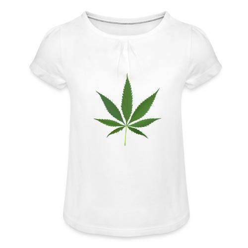 2000px-Cannabis_leaf_2 - Pige T-shirt med flæser