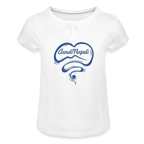 New Logo CuordiNapoli Blu - Maglietta da ragazza con arricciatura
