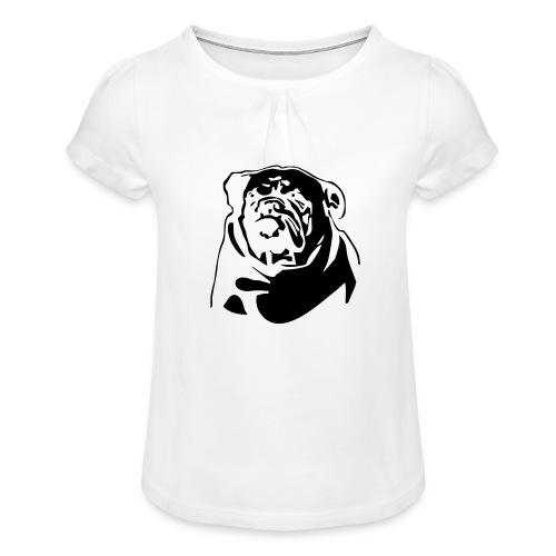 English Bulldog - negative - Tyttöjen t-paita, jossa rypytyksiä