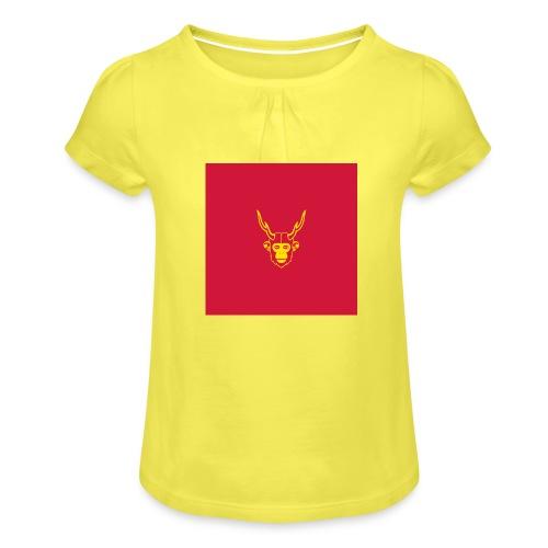 scimmiacervo sfondo rosso - Maglietta da ragazza con arricciatura
