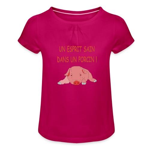 Porcitive Attitude - T-shirt à fronces au col Fille