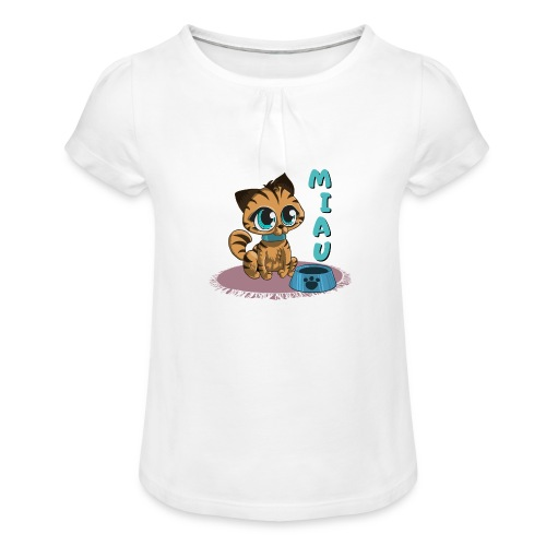 Miau - Mädchen-T-Shirt mit Raffungen