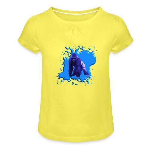 Blauer Gorilla - Mädchen-T-Shirt mit Raffungen