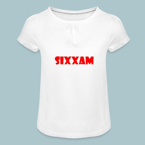 sixxam logo rood - Meisjes-T-shirt met plooien