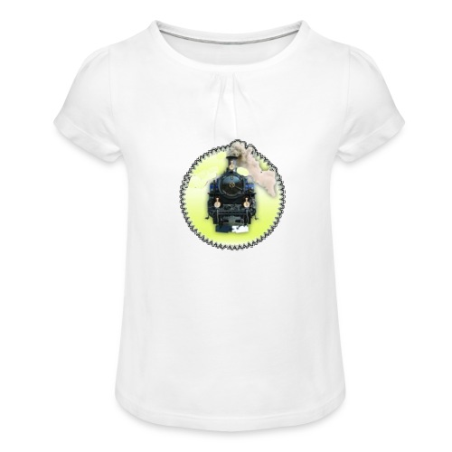 200 DPI transparent Lok OK - Mädchen-T-Shirt mit Raffungen