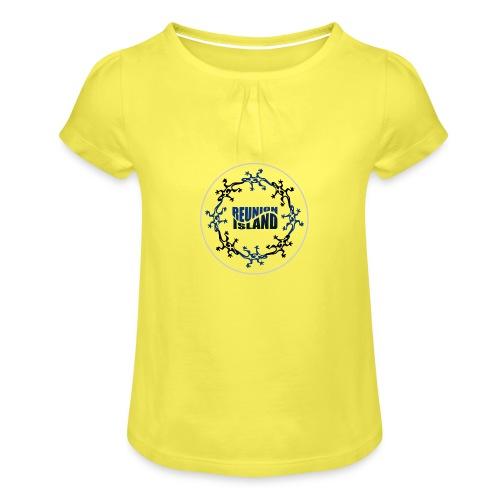 Badge Reunion Island Bleu - T-shirt à fronces au col Fille