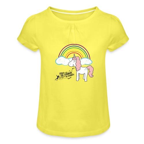 Licorne arc-en-ciel - T-shirt à fronces au col Fille