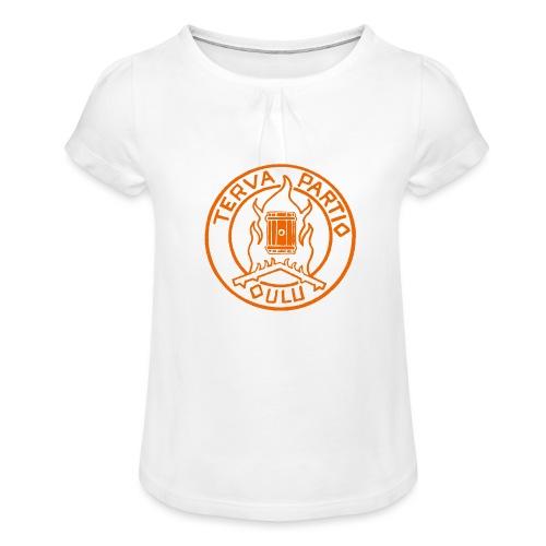 Tervapartio_oranssi - Tyttöjen t-paita, jossa rypytyksiä