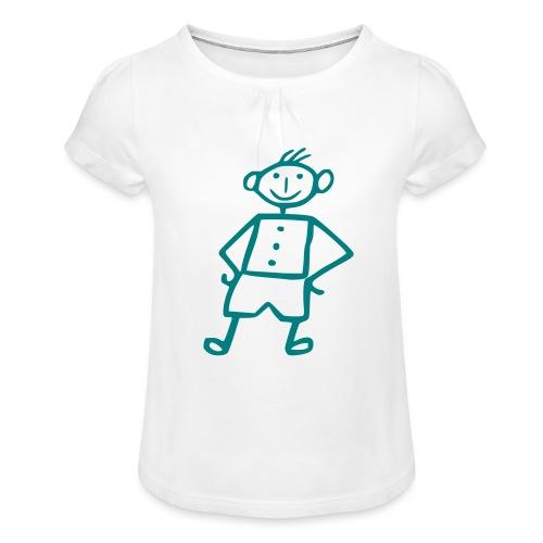 me-white - Mädchen-T-Shirt mit Raffungen