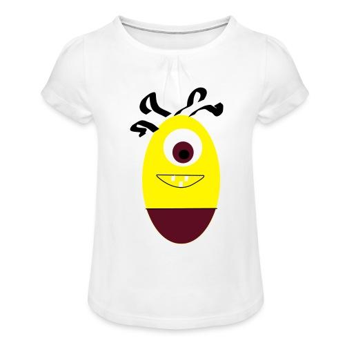 Gult æg - Pige T-shirt med flæser