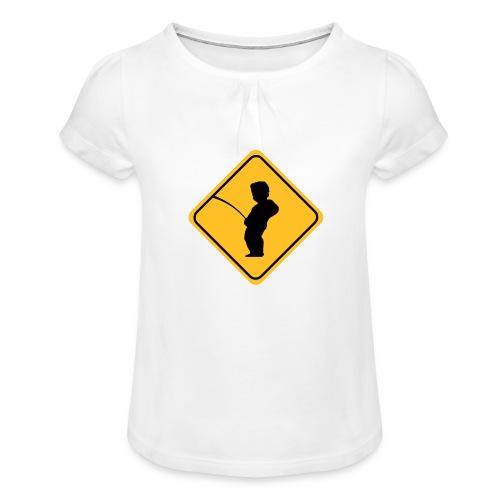 Manneken Pis sign - T-shirt à fronces au col Fille