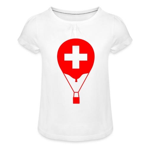 Gasballon im schweizer Design - Mädchen-T-Shirt mit Raffungen