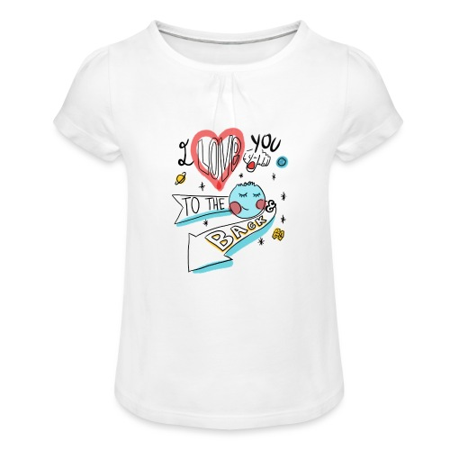 I love you to the moon 2 - T-shirt à fronces au col Fille