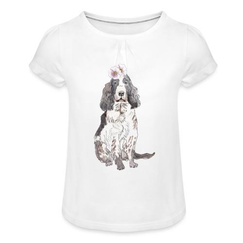 English cocker spaniel with flower - Pige T-shirt med flæser