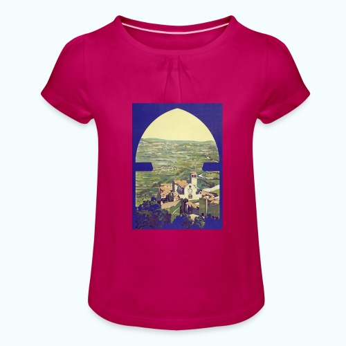 Tuscany vintage travel poster - Girl's T-Shirt with Ruffles