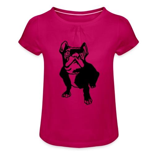 french bulldogge - Mädchen-T-Shirt mit Raffungen