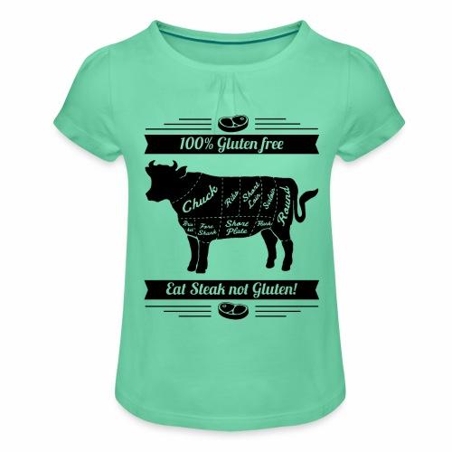 Humorvolles Design für Fleischliebhaber - Mädchen-T-Shirt mit Raffungen