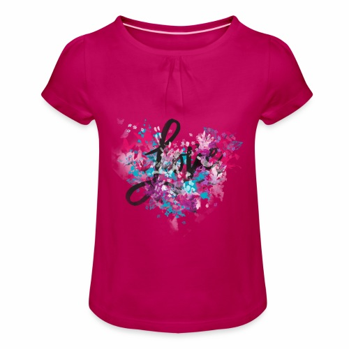 Love with Heart - Girl's T-Shirt with Ruffles